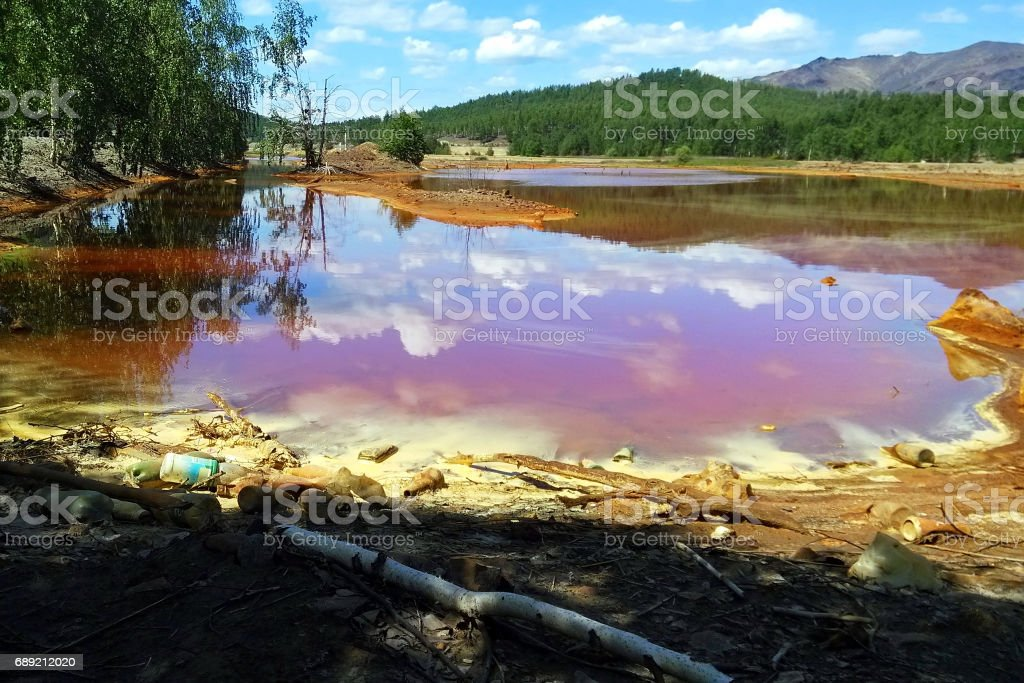 The river Sak-Yelga near to Karabash city, Chelyabinsk region, Russia. One of the most polluted place in the world. stock photo
