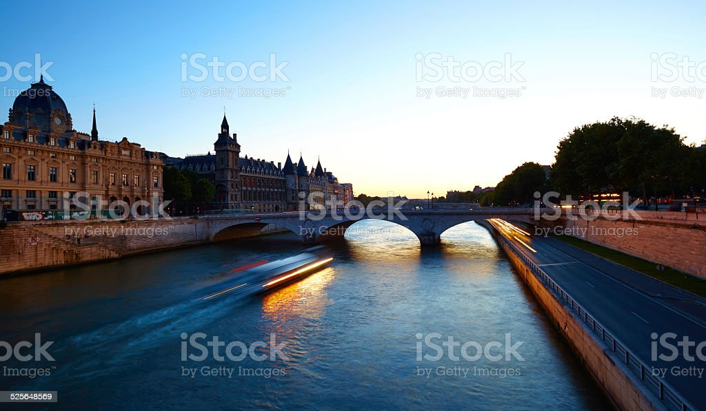 The River Seine And Paris By Night stock photo