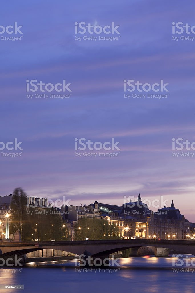 The River Seine cityscape at dusk in Paris, France stock photo