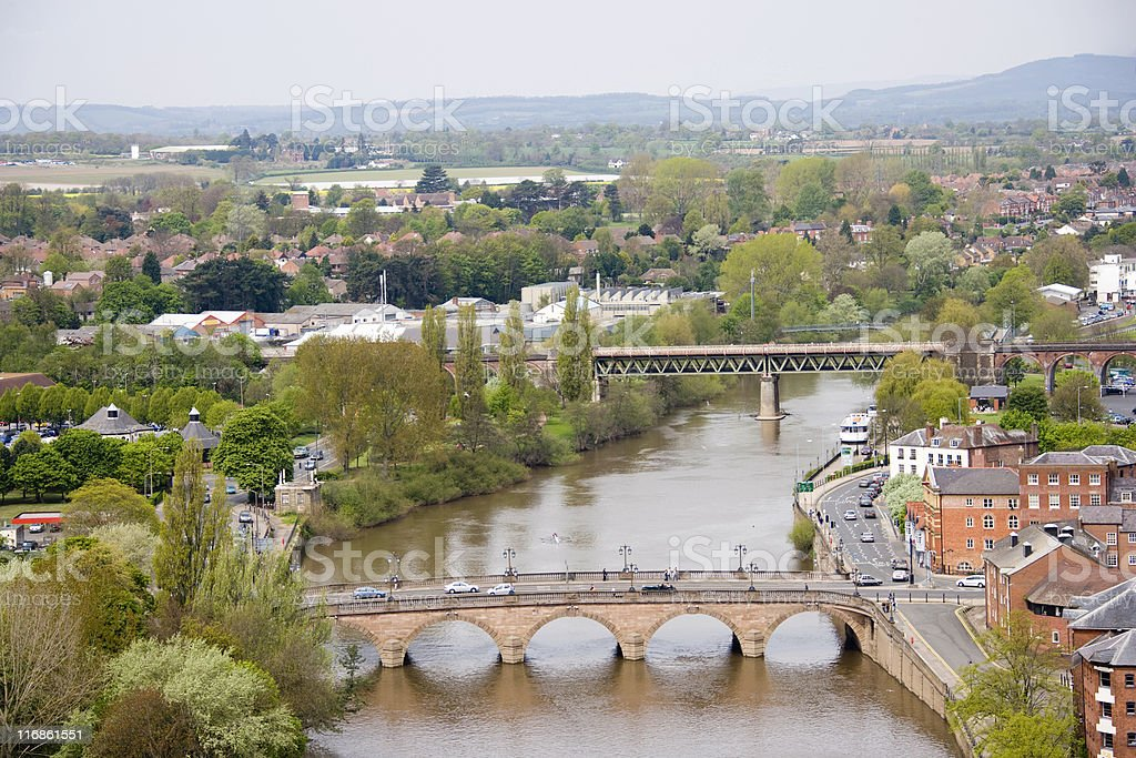 The river Severn at Worcester stock photo