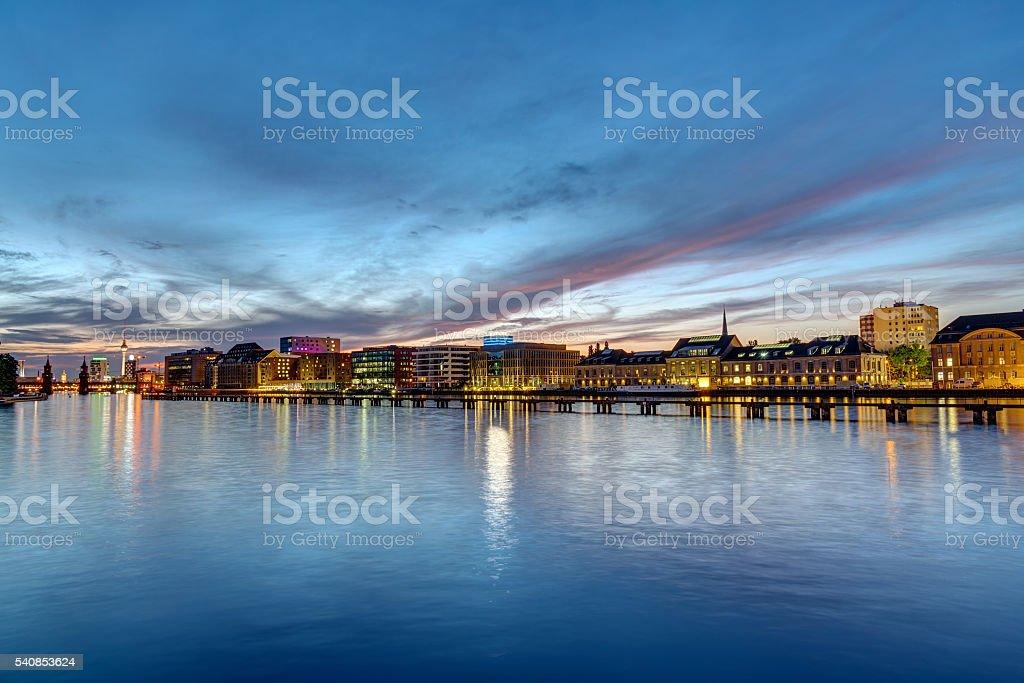 The river Spree in Berlin at dawn stock photo