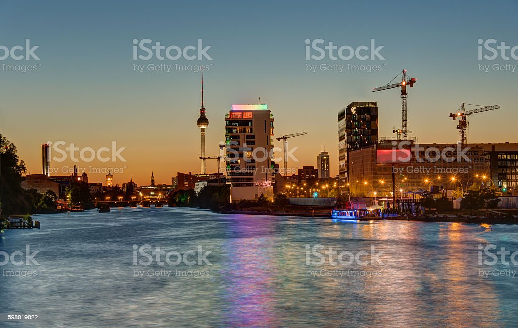 The River Spree in Berlin at sunset stock photo