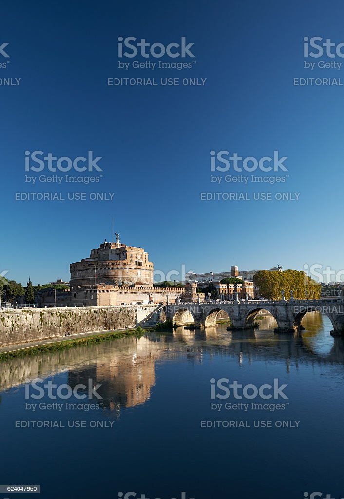 The River Tiber near the famous Castel Sant'Angelo stock photo
