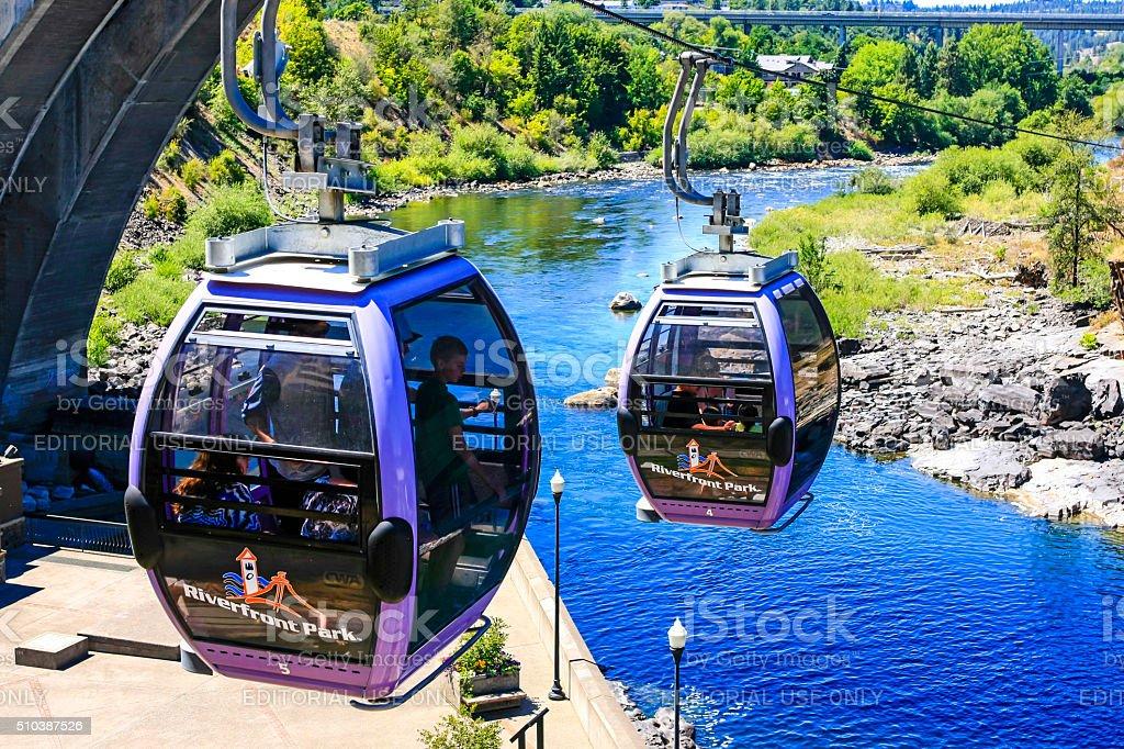 The Riverfront Park Skyride in Spokane Washington stock photo