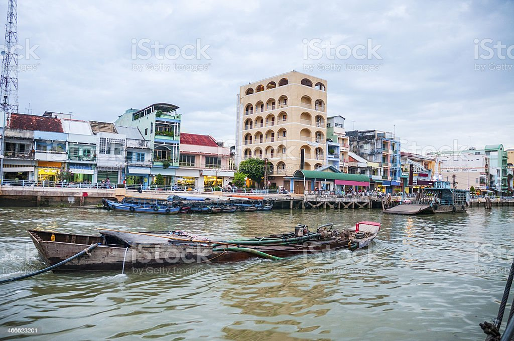 The Riverside Area Of My Tho In Vietnam stock photo