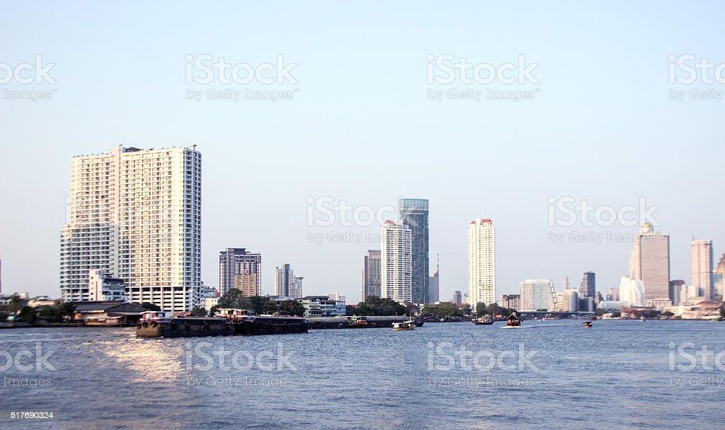 The riverside skyscraper building stock photo