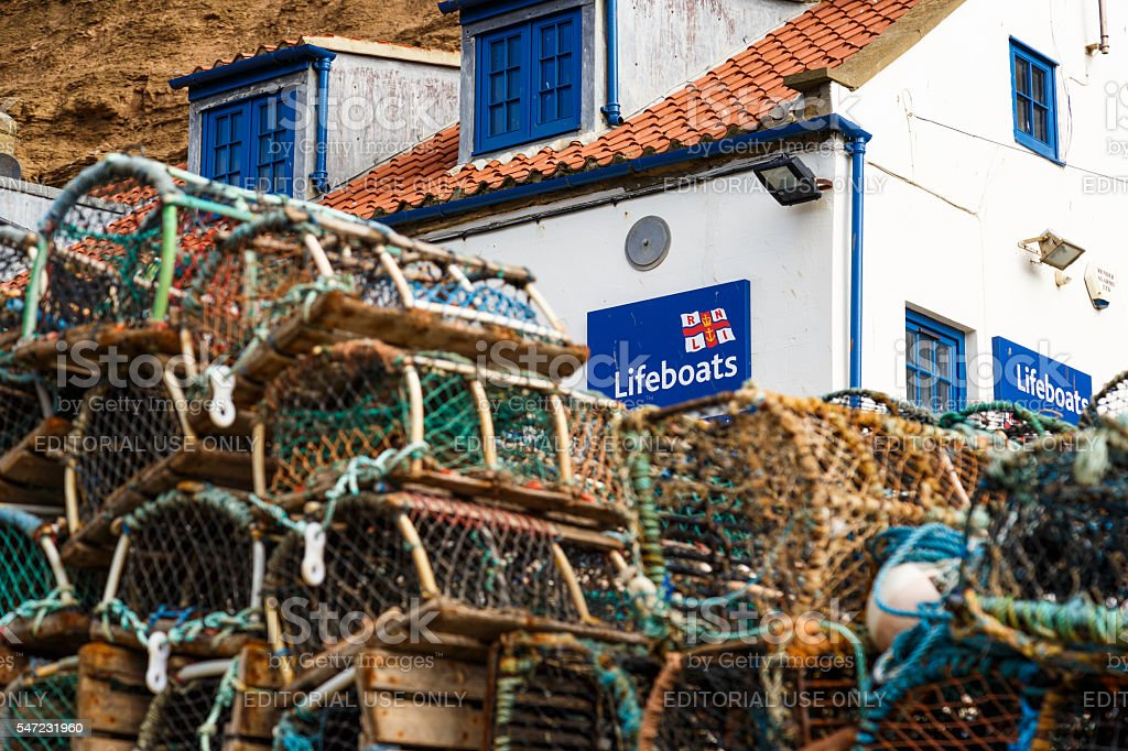 The RNLI lifeboat station. In Staithes, North Yorkshire, England stock photo