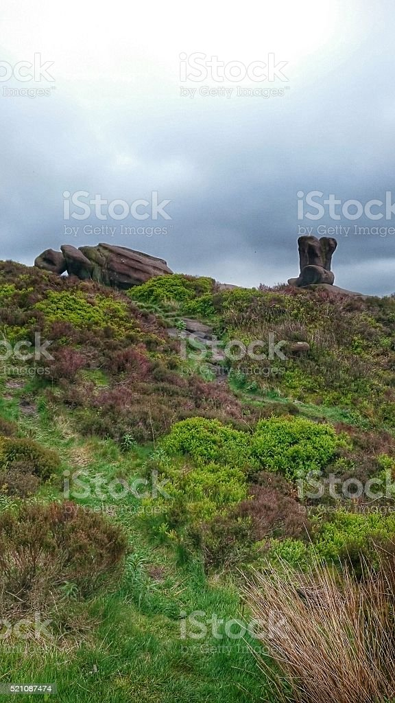 The Roaches Staffordshire Moorlands Rocks Heather & Sky stock photo