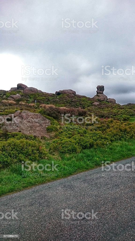 The Roaches Staffordshire Moorlands Rocks & Tarmac stock photo