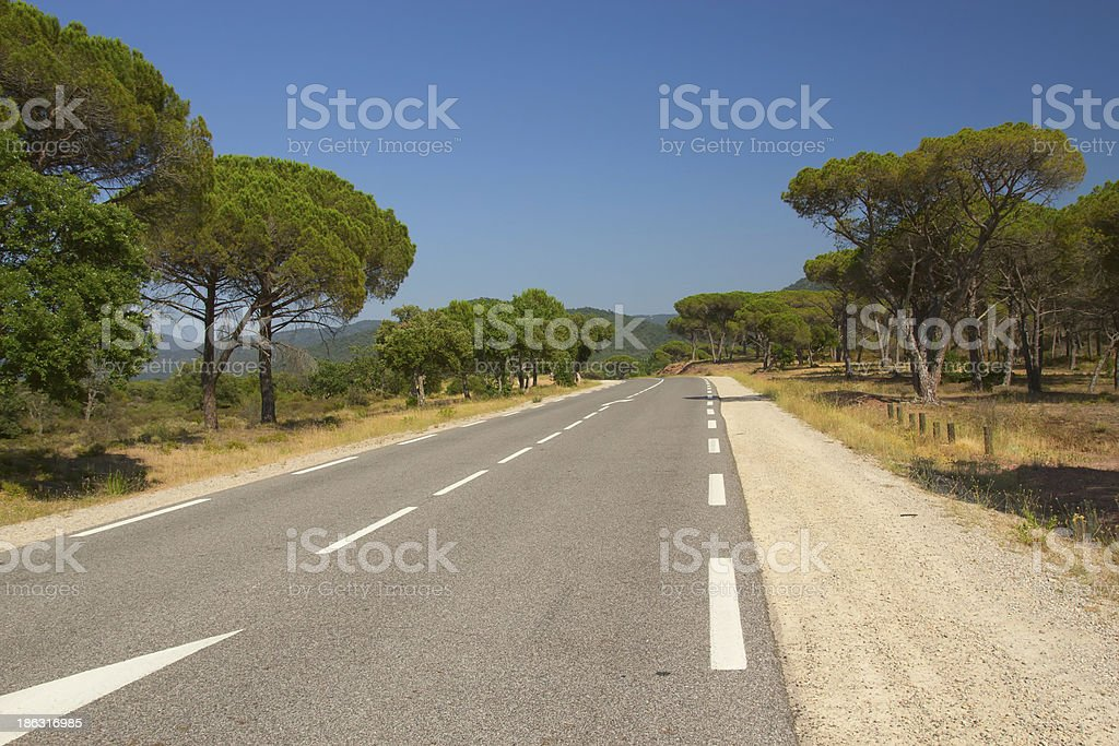 The road at Mediterranean landscape. stock photo