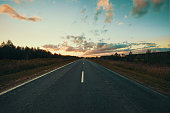 The road at sunset
