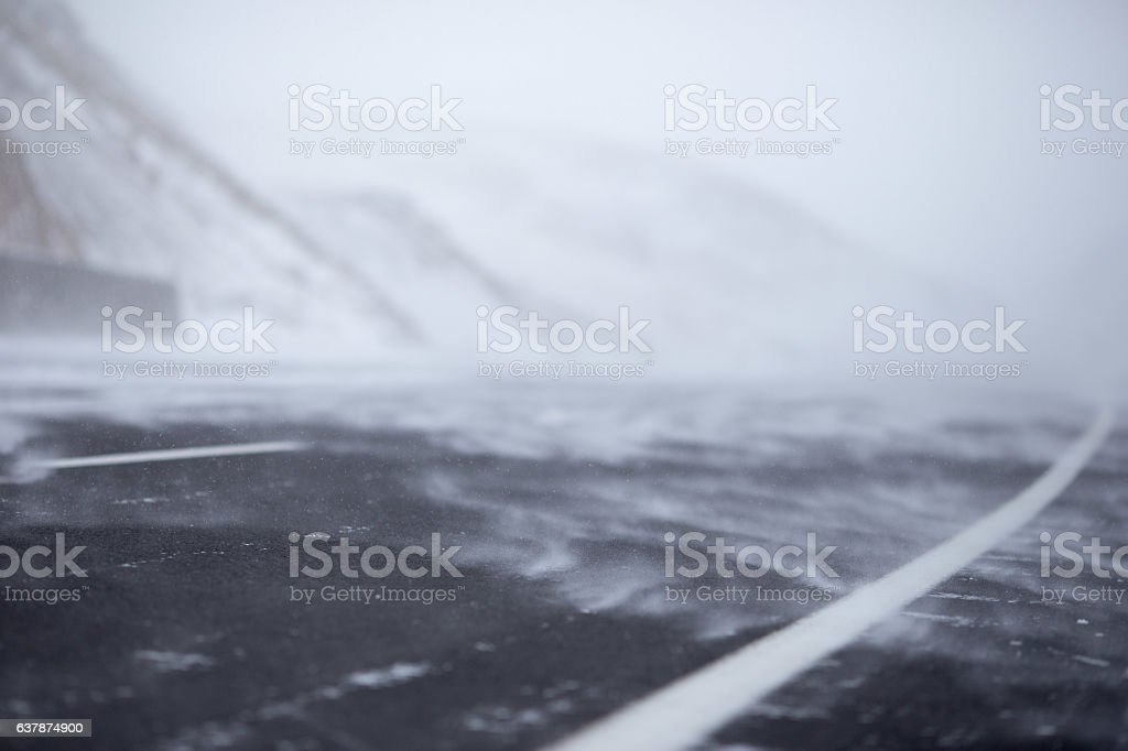 the road covered with snow stock photo