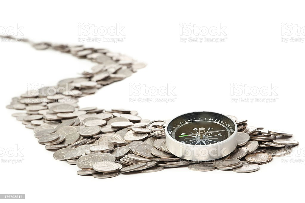 The road from coins stock photo