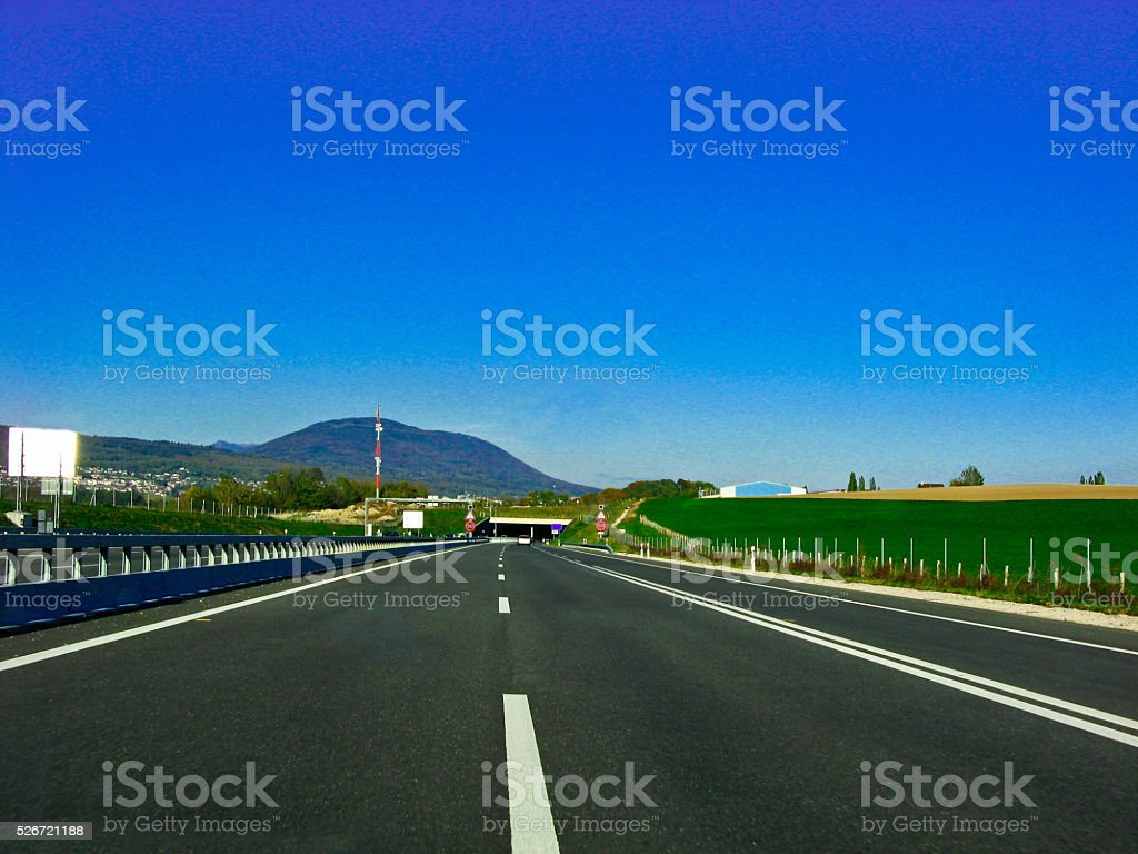 The road go to the mountain cave ,Lucern Switzerland stock photo