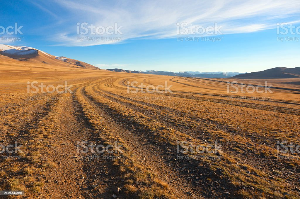 The road in the desert stock photo