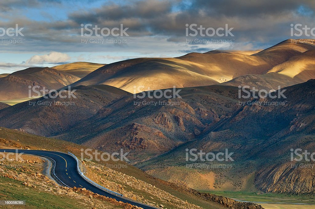 The road in Tibet plateau. royalty-free stock photo