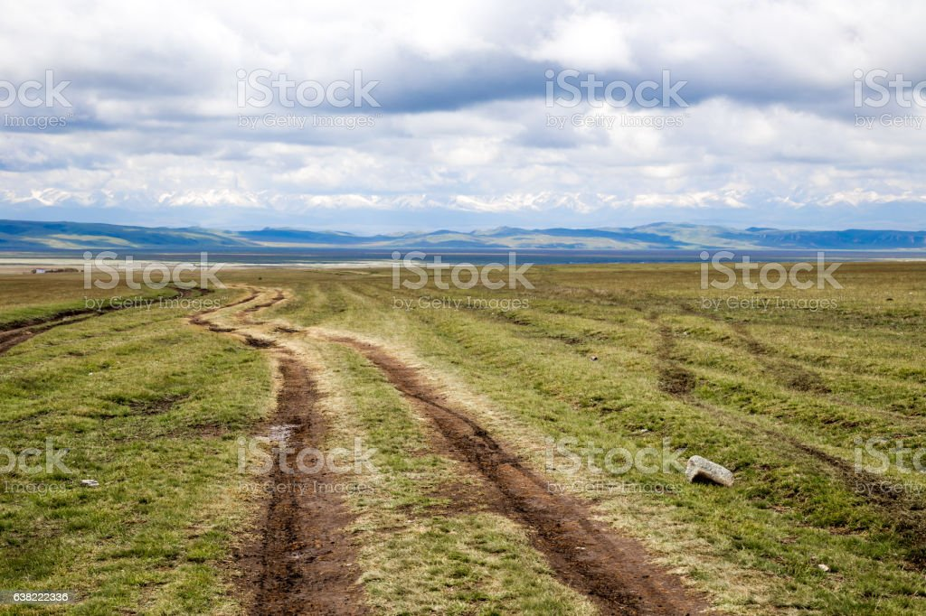 The road leading to the snow-capped mountains on the grassland. stock photo
