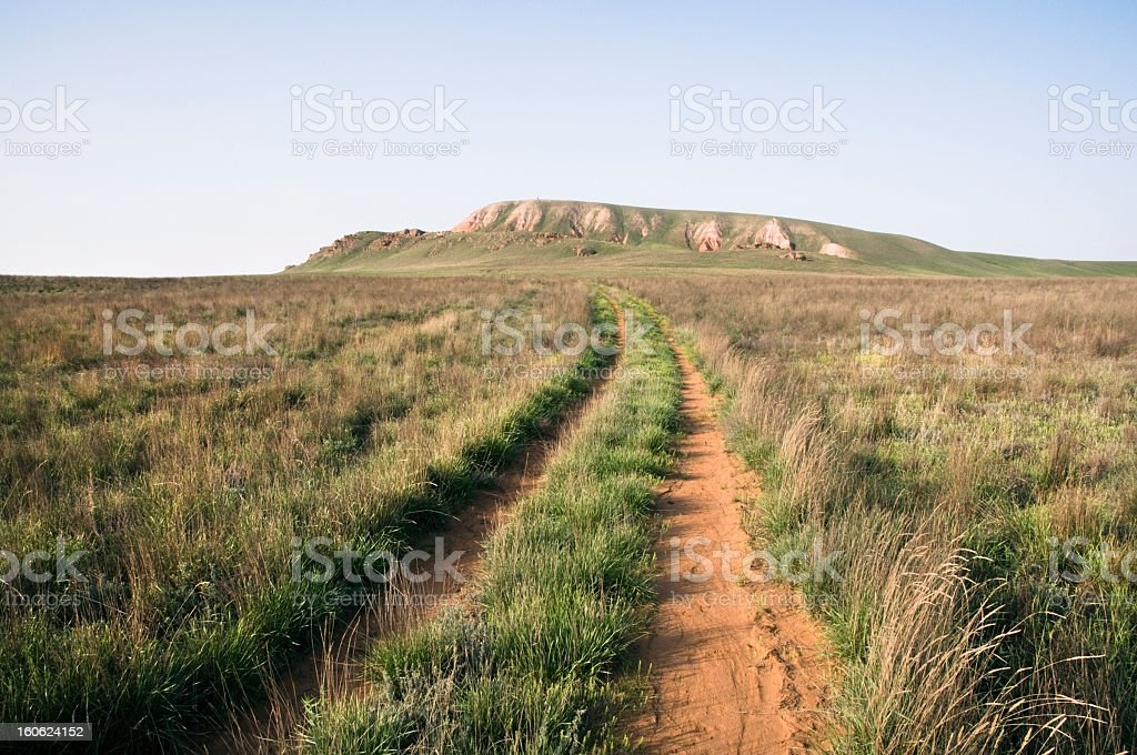 The road on Bogdo's mountain. royalty-free stock photo