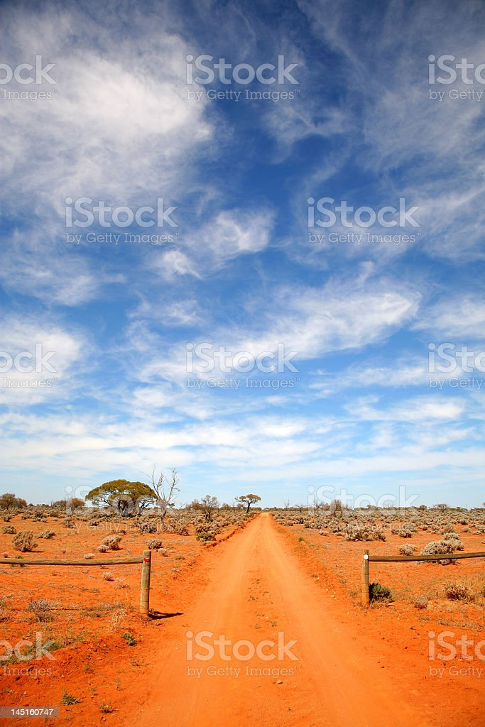 The road on the Australian Outback stock photo