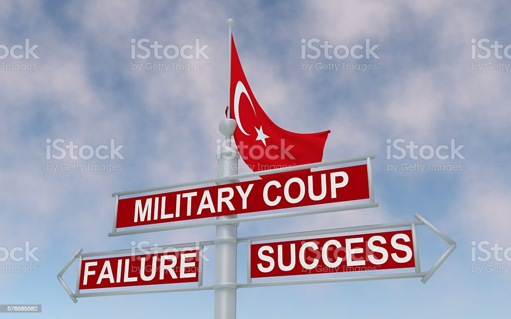 The road sign with arrows: military coup, failure or success. stock photo