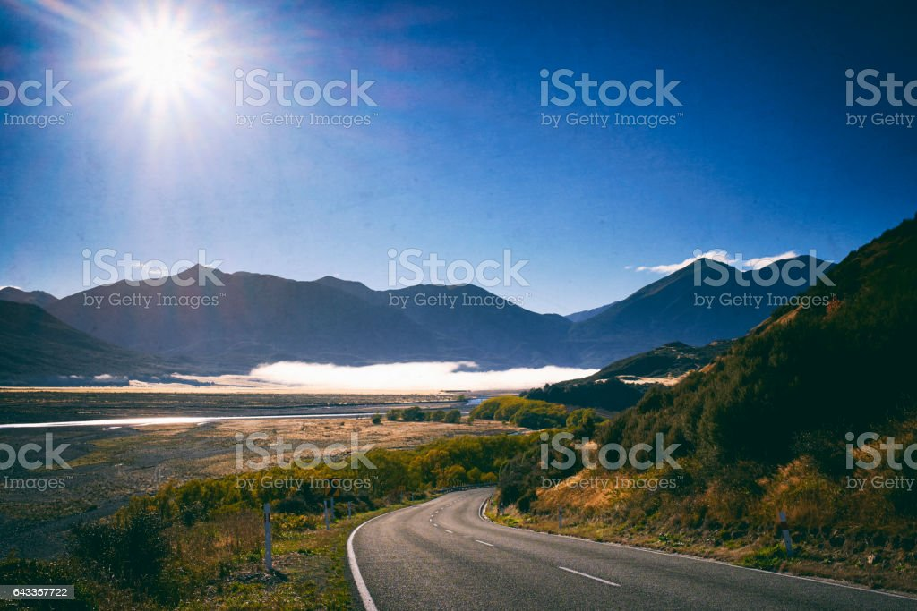The Road Through Arthur's Pass, New Zealand stock photo