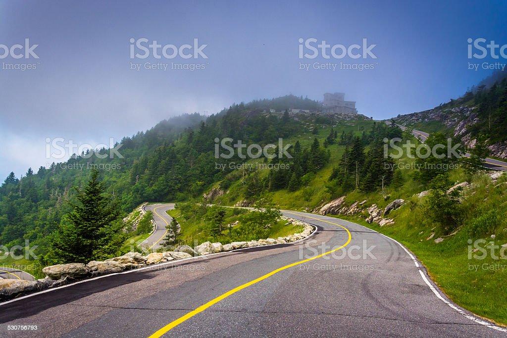 The road to Grandfather Mountain, near Linville, North Carolina. stock photo