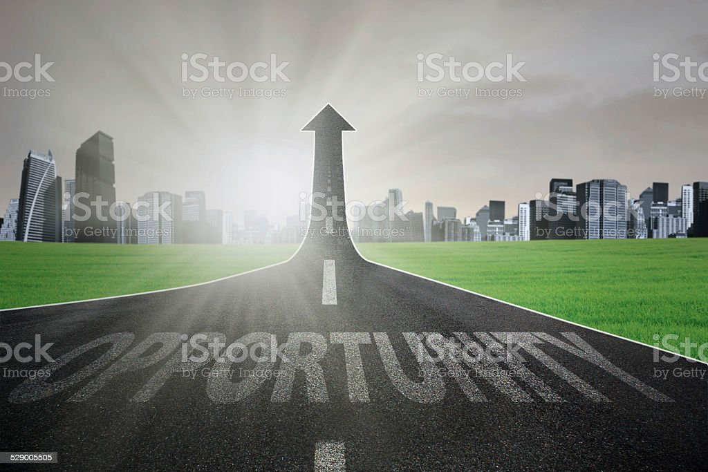The road to increase opportunity stock photo