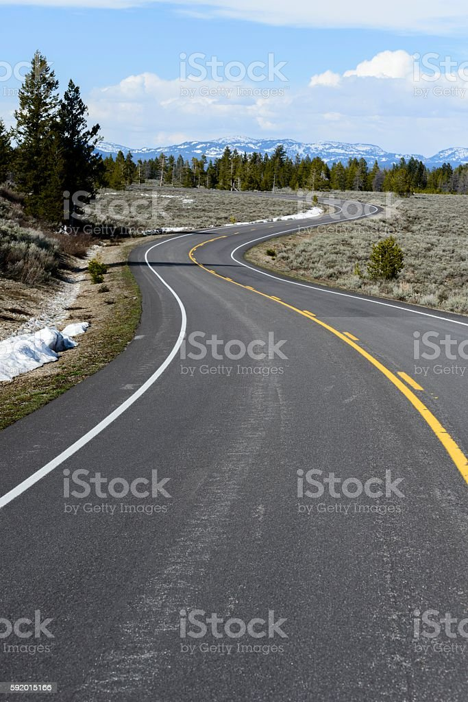 The Road to Jackson Hole, Wyoming stock photo