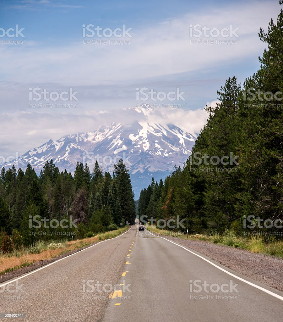 The Road to Mount Shasta stock photo