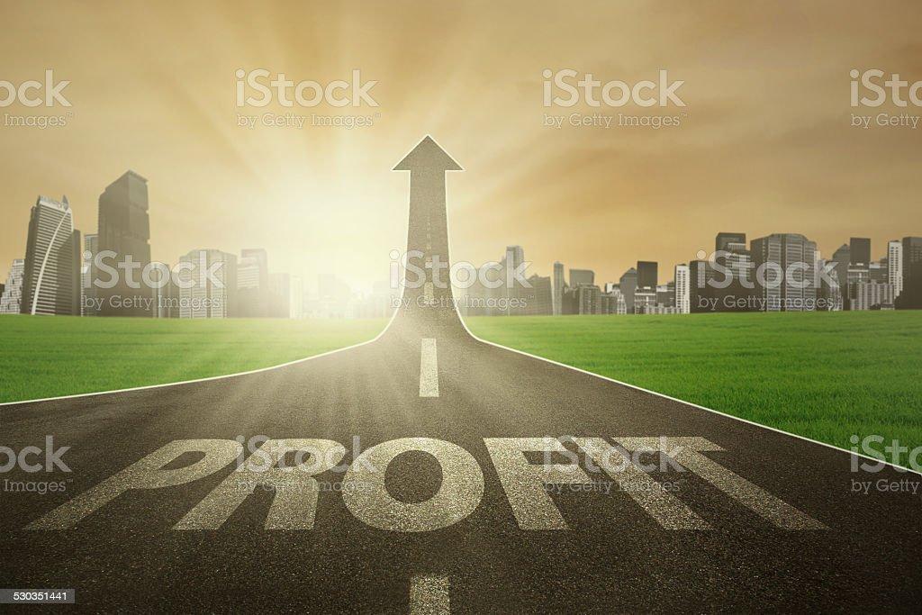 The road to raise profit stock photo