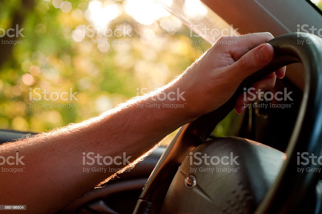 The road to success. Driver traveling to the sun. stock photo