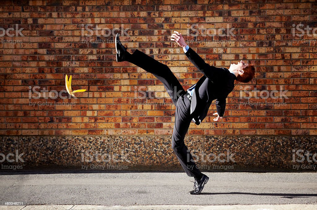 The road to success is a slippery one at best stock photo