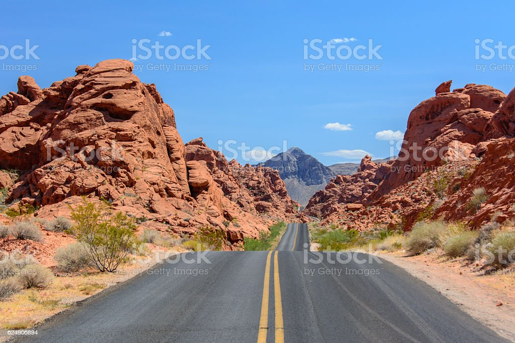 The road to the park Valley of fire, Nevada stock photo