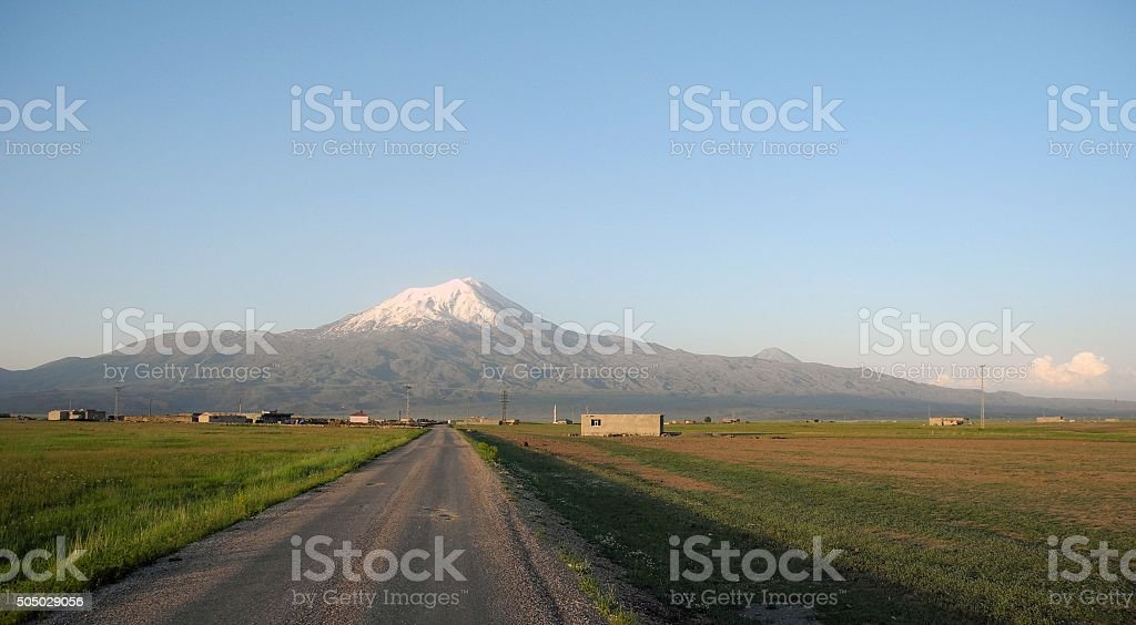 The road to the summit of Mount Ararat stock photo