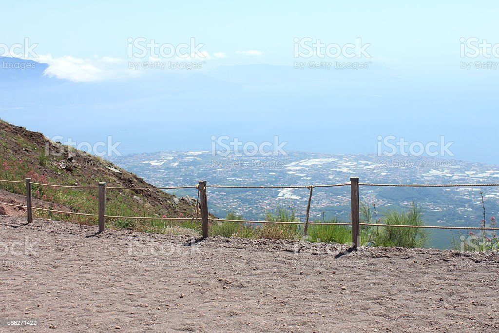 The road to the top of Mount Vesuvius. Italy, Naples. stock photo