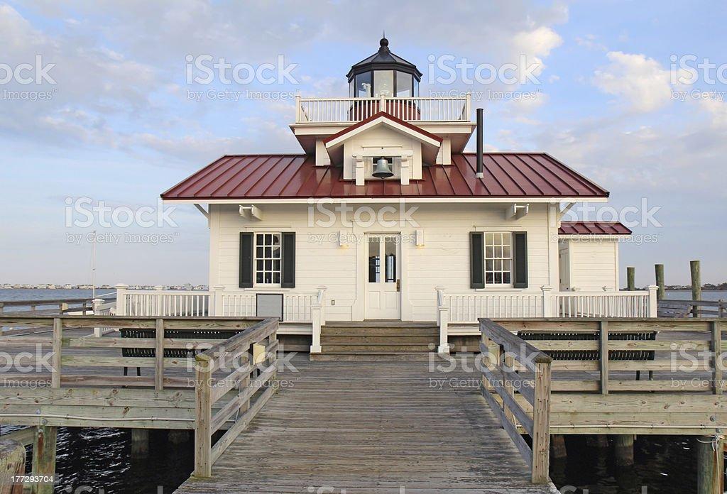 The Roanoke Marshes Lighthouse in Manteo, North Carolina stock photo