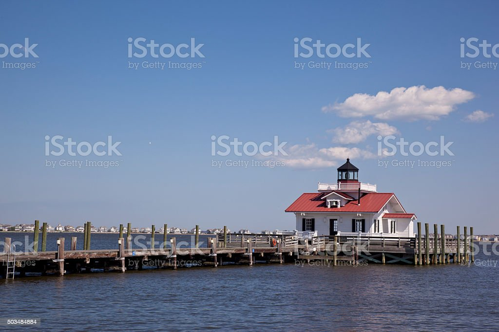 The Roanoke Marshes Lighthouse in the Outer Banks stock photo