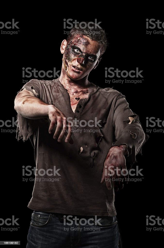 The roar  zombie is monster  in browm shirt royalty-free stock photo