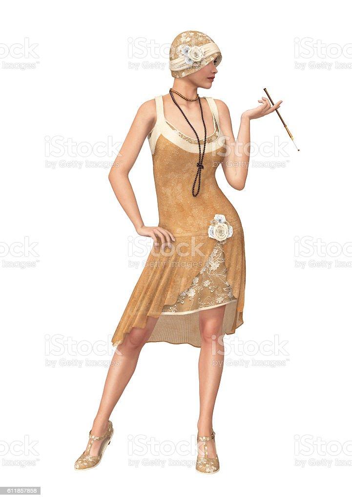 The Roaring 20s Woman Flapper Dancer Dress stock photo