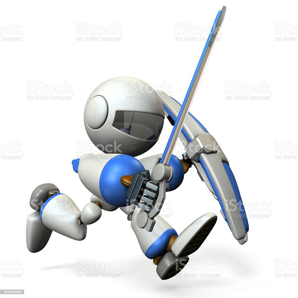 The robot is assaulting. stock photo