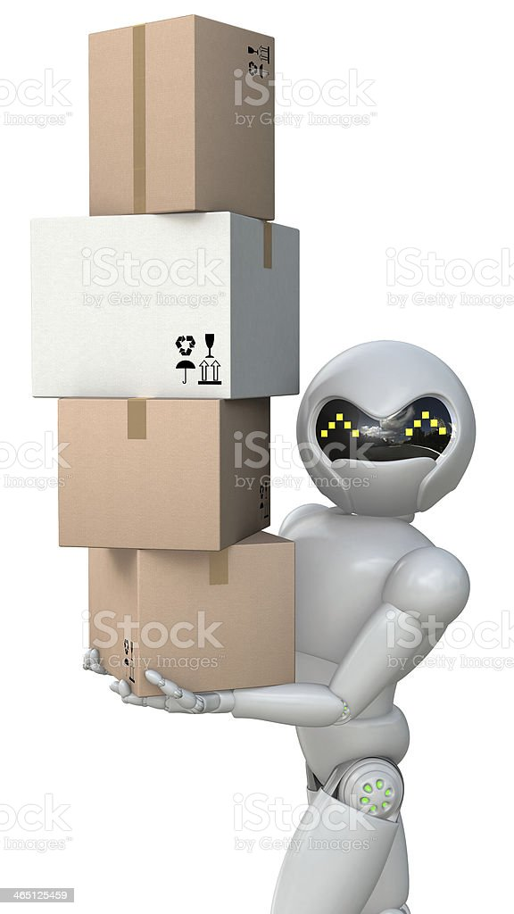 The robot moves cardboard boxes. stock photo