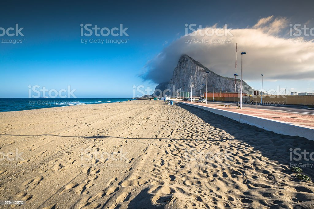 The Rock of Gibraltar from the beach of La Linea, stock photo