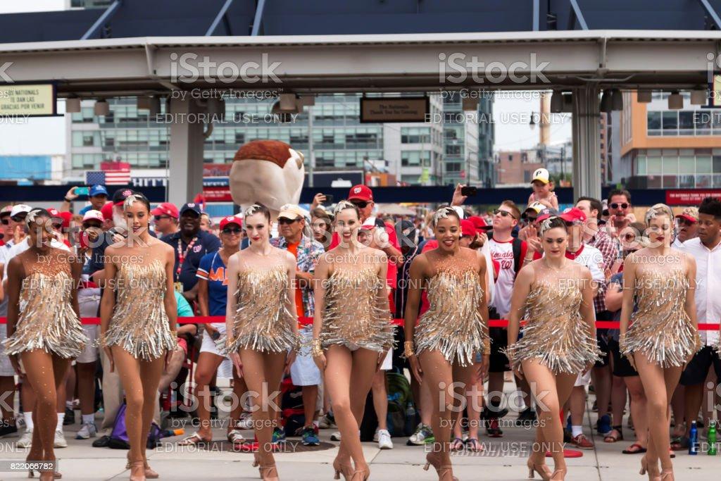 The Rockettes outside of the Washington Nationals Stadium stock photo