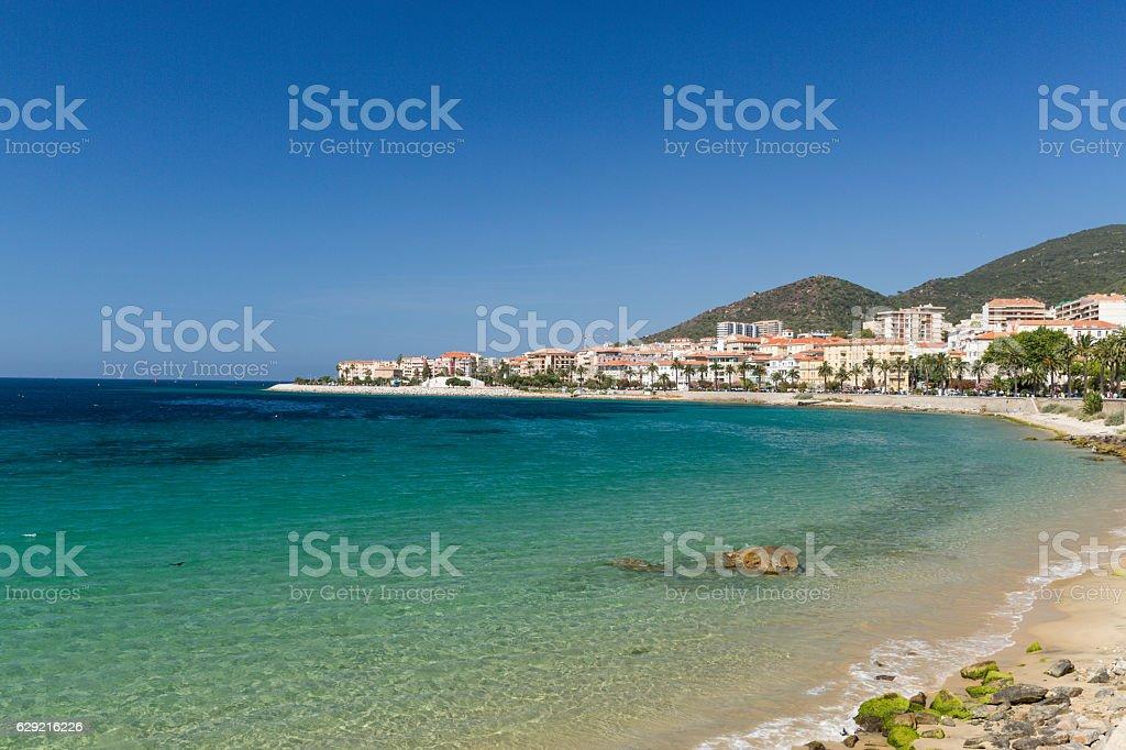 The rocks and pebbles of the beach in Ajaccio Corsica stock photo