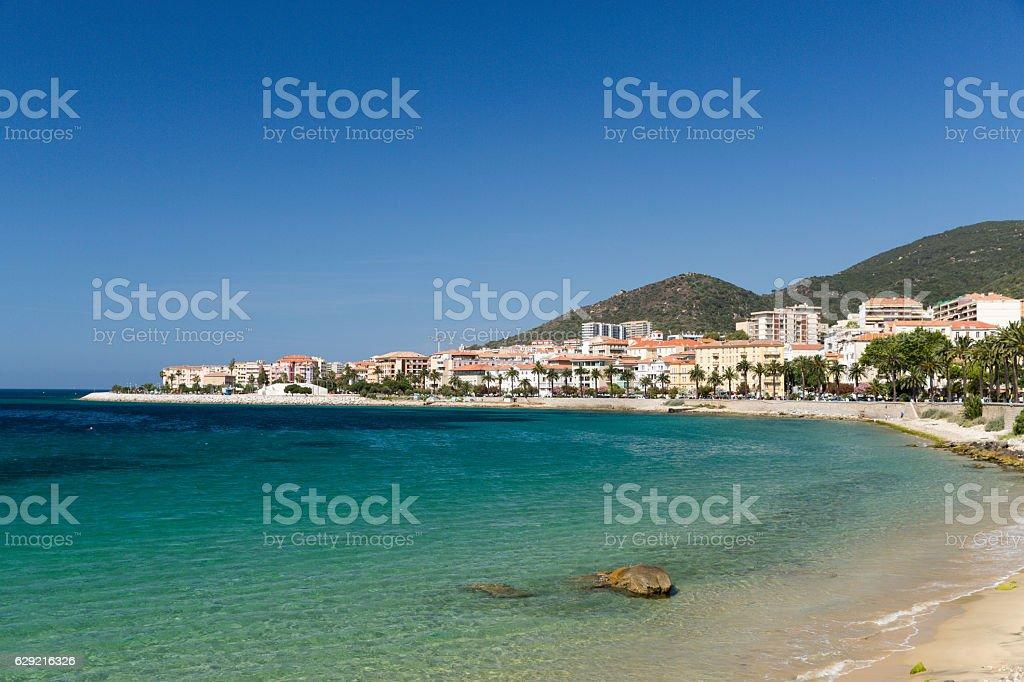 The rocks and pebbles of the shoreline in Ajaccio Corsica stock photo