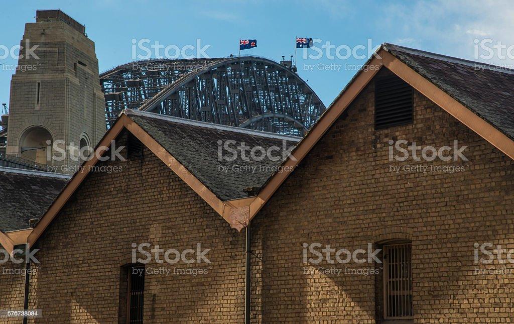 The Rocks and Sydney Harbour Bridge stock photo