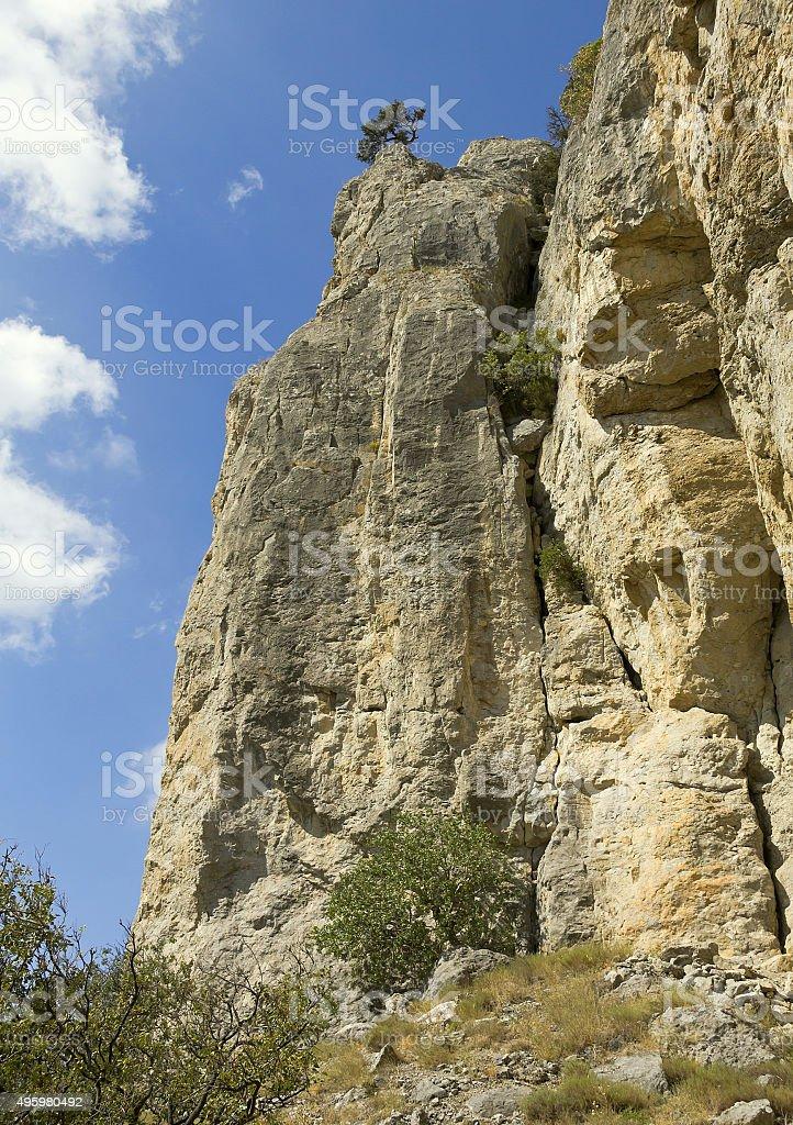 The rocks of the massif of Karaul-Oba.Crimea stock photo