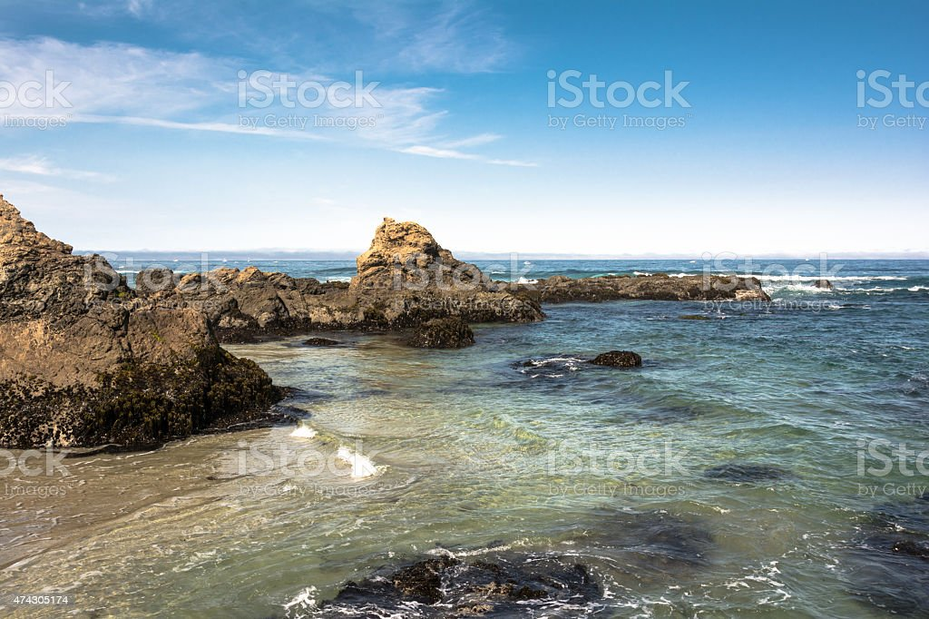 The rocks on the Fort Bragg coast, California stock photo