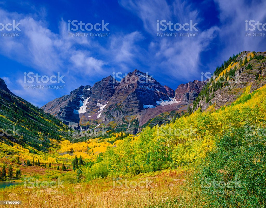 The Rocky Mountains Maroon Bells With Autumn Aspen Trees,CO stock photo