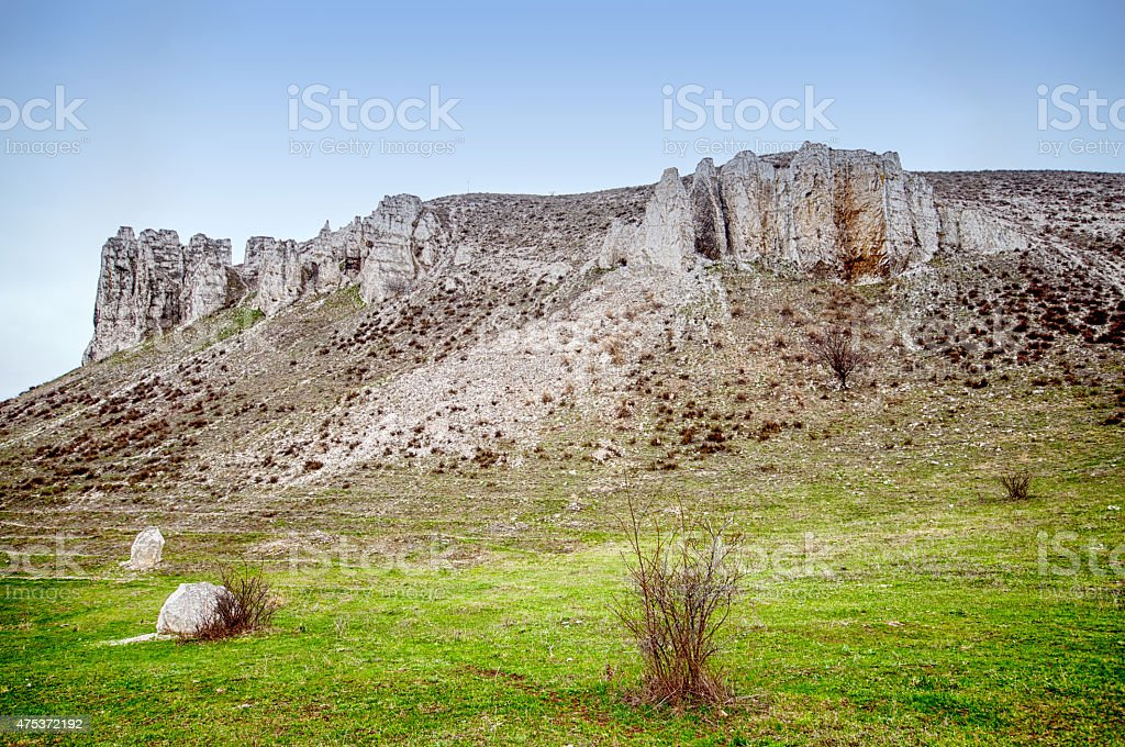 The rocky outcrop is located in the Upper Cretaceous stock photo